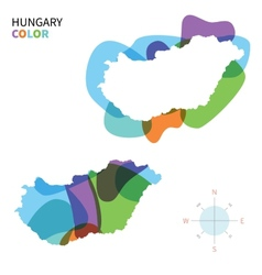 Abstract color map of hungary vector