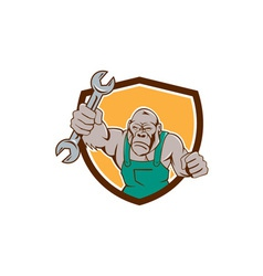 Angry gorilla mechanic spanner shield cartoon vector