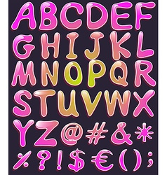 Letters of the alphabet in pink color vector