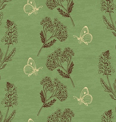 Vintage seamless pattern with herbs on a green vector