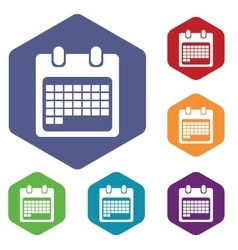 Month calendar icon hexagon set vector