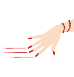 Woman hand with ruby bracelet scratching red lines vector