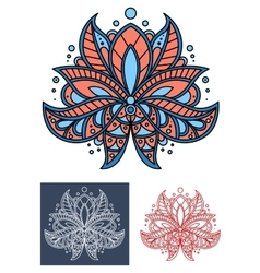 Coral persian paisley flower with blue elements vector