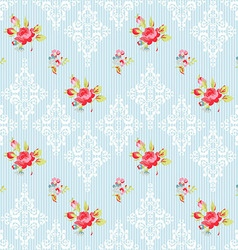Seamless Pattern with red roses and damask vector image