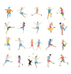 Jumping high male and female people avatar set vector