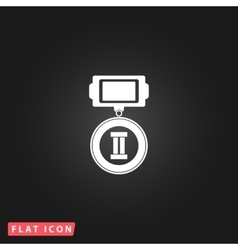 Flat icon of medal 2 places vector