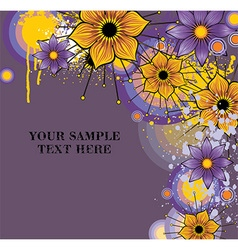 Grunge Purple Floral Background with Text Space vector image