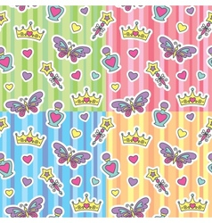 princess patterns set vector image