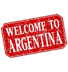Welcome to argentina red square grunge stamp vector