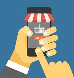 Digital commerce Online shopping with modern vector image
