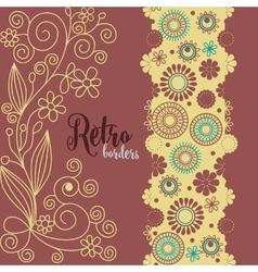Retro borders floral decoration in retro colors vector