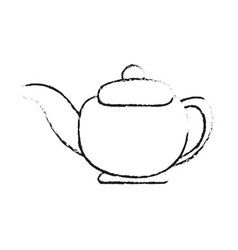 Blurred silhouette tea kettle for hot drinks vector