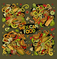 Cartoon set of mexican food doodles design vector