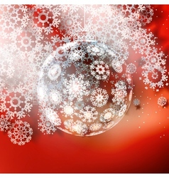 Christmas ball on red background vector image vector image