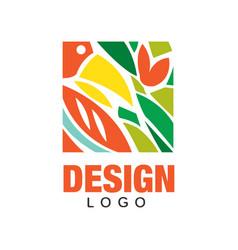 colorful logo design in rectangular shape vector image vector image