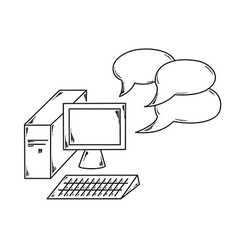 computer and speak bubble vector image