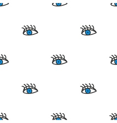 Cute doodle eyes seamless pattern background vector image