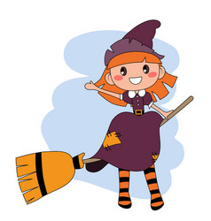 cute redheaded witch flying on a broom over blue vector image