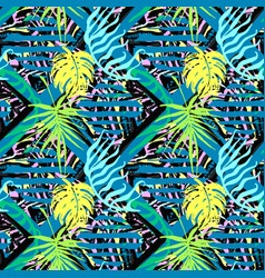 exotic leaves summer funky seamless pattern vector image