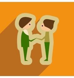 Flat web icon with long shadow male friends vector