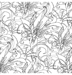 Graphic lilies pattern vector image
