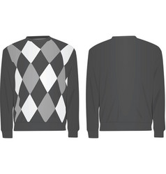 gray sweater with argyle pattern vector image