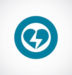 Heart lightning icon bold blue circle border vector