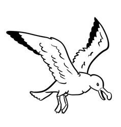 isolated gull cartoon- hand drawn vector image