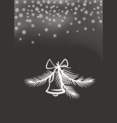 jingle bell with bow and feathers white silhouette vector image