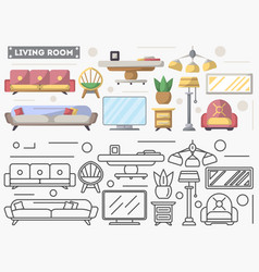 living room furniture set in flat style vector image vector image