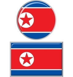 North korea round and square icon flag vector