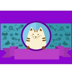 Pet shop banner with cat cartoon vector