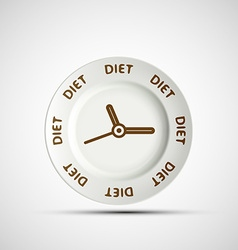 Plate as a clock and the words diet vector