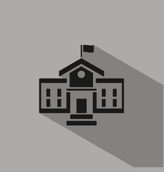 School building icon with shadow on grey vector