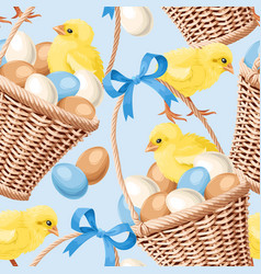 Seamless basket with eggs vector