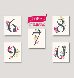 Set of beautiful flowers and numbers vector