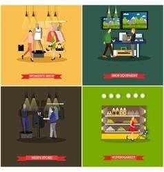 set of shop and supermarket design elements vector image
