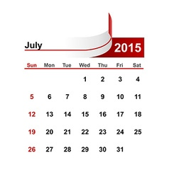 Simple calendar 2015 year july month vector