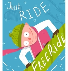 Snowboard funny free rider jump fun poster design vector