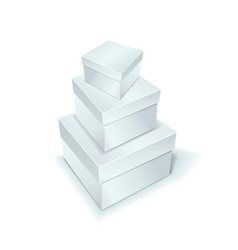 three boxes of white color stand on top of each vector image