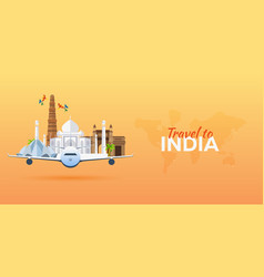 Travel to india airplane with attractions travel vector