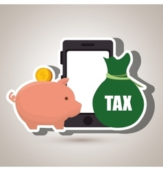 Smartphone piggy taxes vector