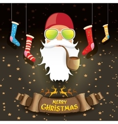 Bad rockstar rock n roll dj santa claus vector