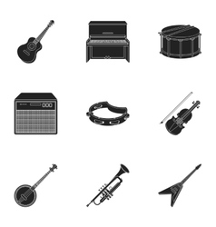 Musical instruments set icons in black style big vector
