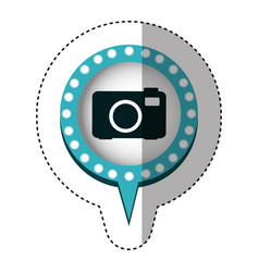 Sticker of analog camera in circular speech with vector