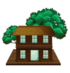 Two-stories house made of wood vector