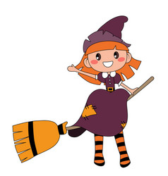 Cute redheaded witch sitting on a broom isolated vector