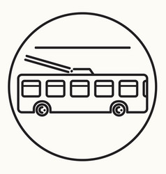 minimal outline trolleybus icon vector image