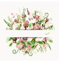 Postcard with floral bouquet for your design vector