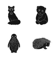 Fox panda hedgehog penguin and other animals vector